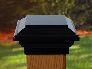 Black Titan Flat Top Aluminum Post Cap 9 Sizes Post